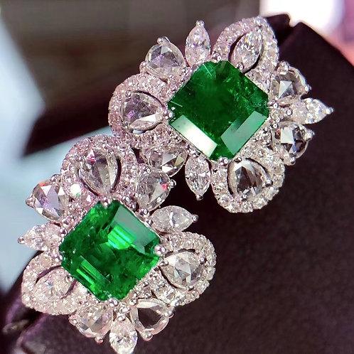 Vivid Green Emerald Earrings