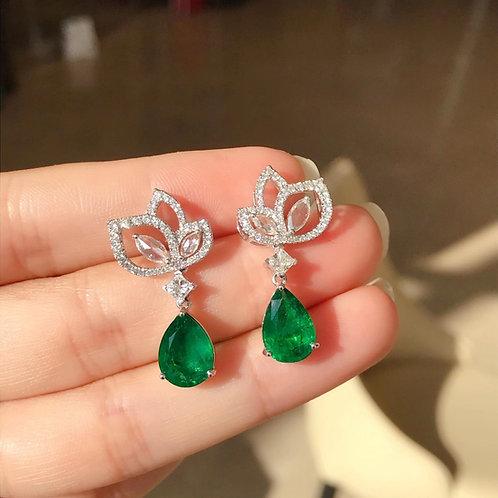 Pear Cut Vivid Green Emarald Earrings 5.68ct