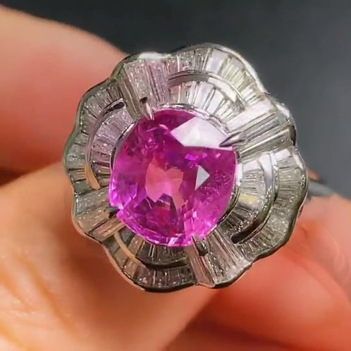 Natural Purple Sapphire Ring 3.38ct