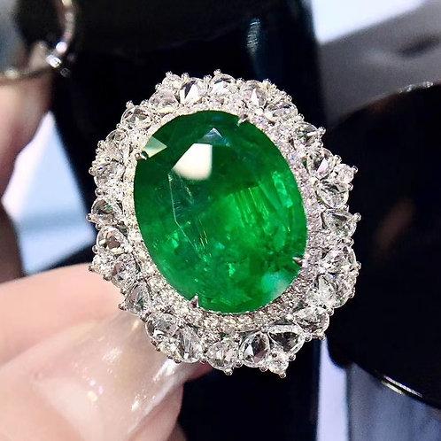 Vivid Green Emerald Ring 12.14ct