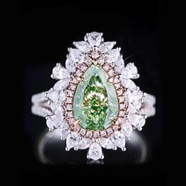 Pear Shaped Green Diamond Ring 2.56ct