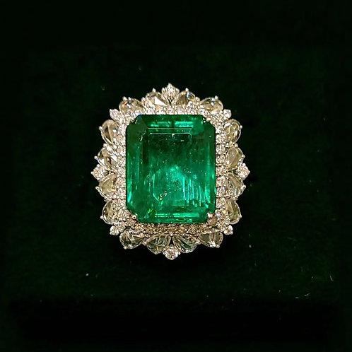 Vivid Green Emerald Ring 10.9ct