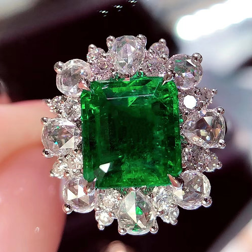 Vivid Green Emerald Ring 3.45ct