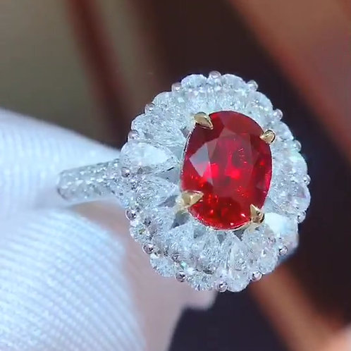 Unheated Pigeon Blood Ruby Ring 2.01ct