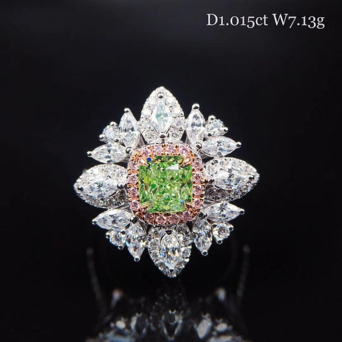 Cushion Cut Green Diamond Ring 1.015ct