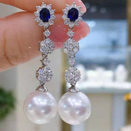 (Ask Price) Australian Pearl & Sapphire Earrings 10-11mm