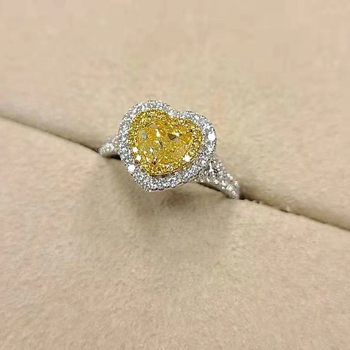 Heart Cut Yellow Diamond Ring 1.00ct