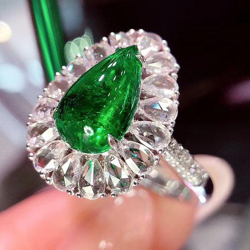 Pear Cabochon Emerald Ring 1.53ct