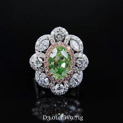 Oval Cut Green Diamond Ring 3.01ct