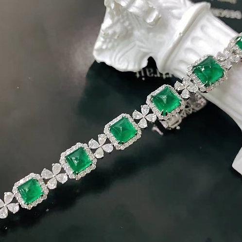 (Ask Price) Muzo Green Emerald Bracelet 9.69ct