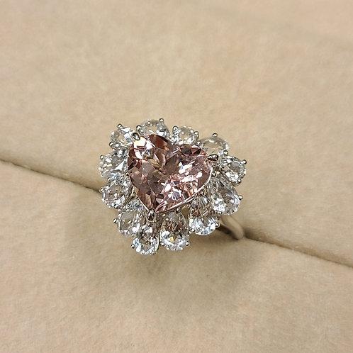 Heart Cut Morganite Ring 2.92ct