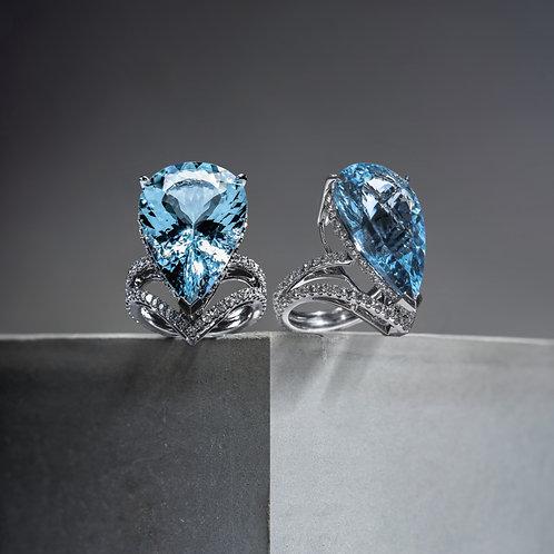 Pear Cut Aquamarine Ring 16.95ct