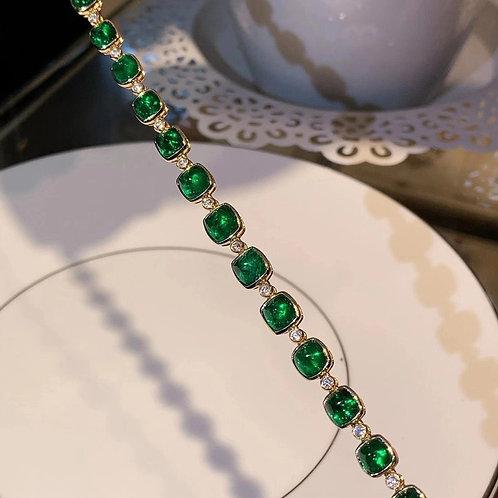 Sugarloaf Vivid Green Emerald Bracelet 12.13ct