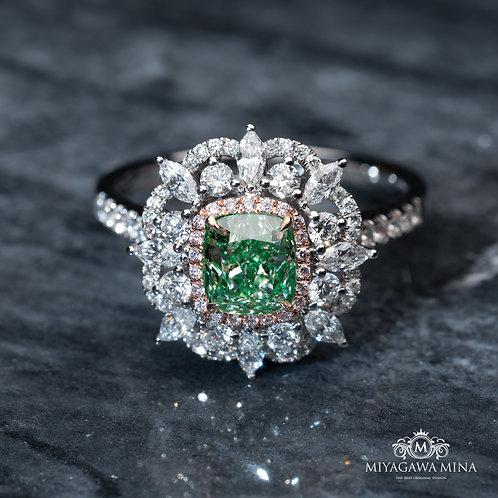 Cushion Cut Green Diamond Ring 1ct