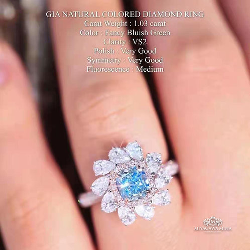 (Ask Price) GIA Blue Diamond Ring 1.03ct