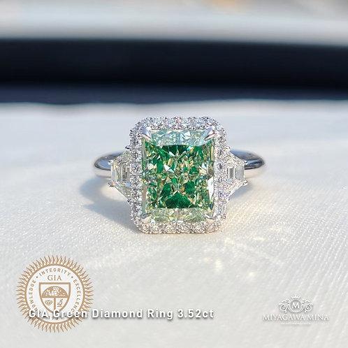 GIA Green Diamond Ring 3.52ct