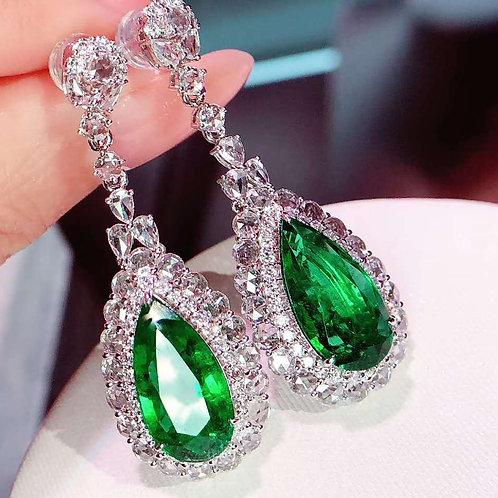 Pear Cut Vivid Green Emerald Earrings 10.5ct