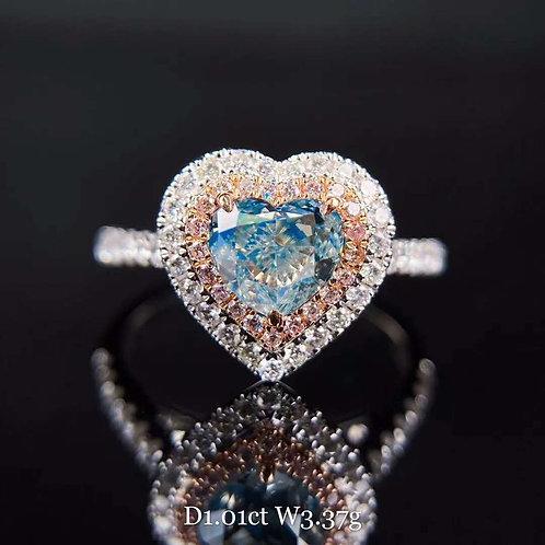 Heart Shaped Blue Diamond Ring 1.01ct