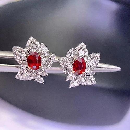 Pigeon Blood Ruby Earrings 0.88ct