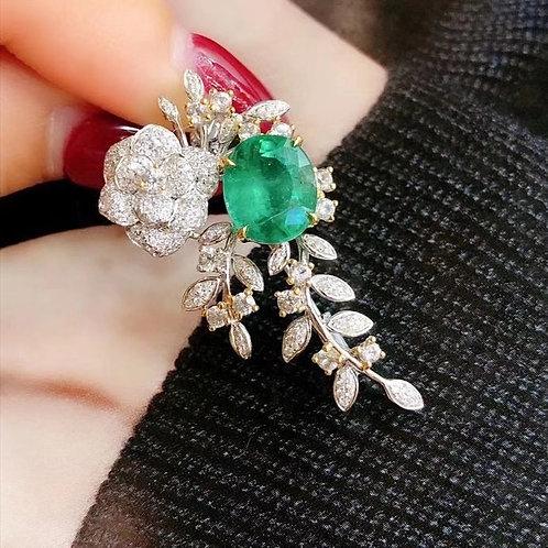 Vivid Green Minor Oil Emerald Brooch 2.69ct