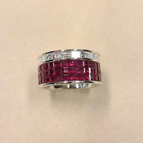 Invisible-set Ruby Ring