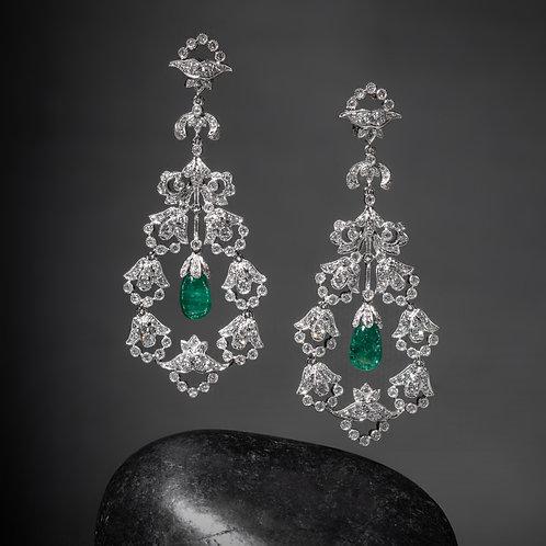 Edwardian Style Emerald Earrings