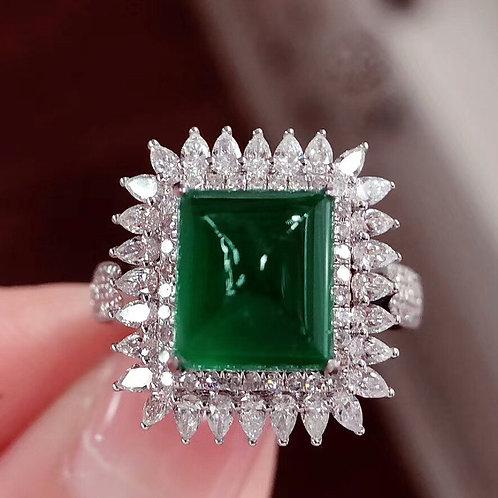 Vivid Green Sugarloaf Emerald Ring 5ct