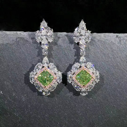 GIA Green Diamond Earrings 3ct