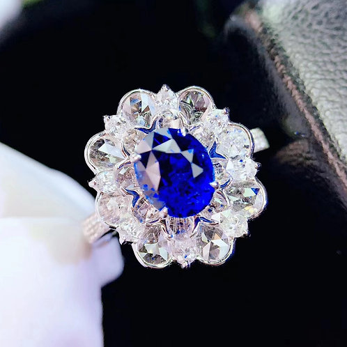 Unheated Natural Blue Sapphire Ring 1.54ct
