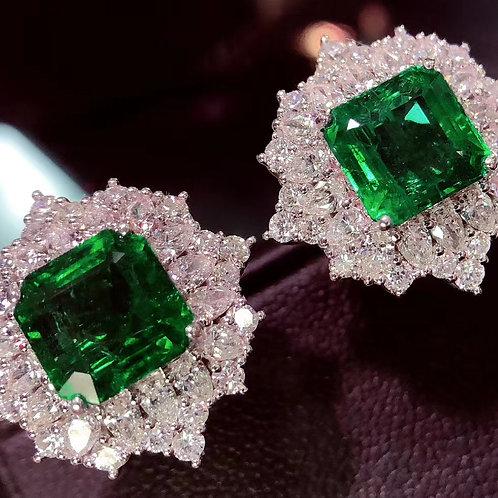 No Oil Verdant Green Emerald Earrings 4.35ct