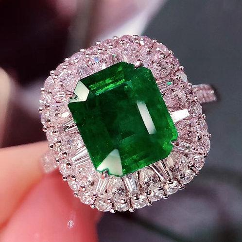 Vivid Green Emerald Ring 2.6ct