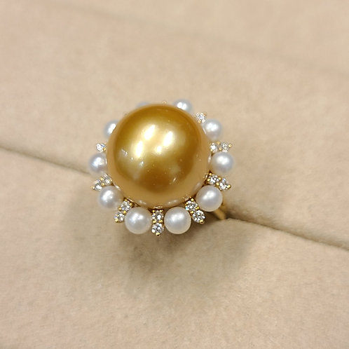 Gold Pearl Ring 15.1mm