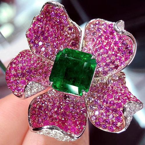 Emerald & Pink Sapphire Flower Ring 6.0ct