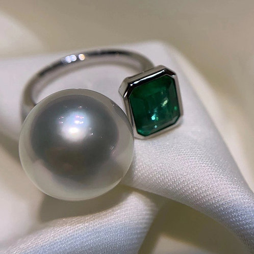 South Sea Pearl Ring With Emerald