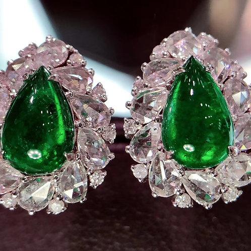 Pear Cabochon Emerald Earrings 2.1ct