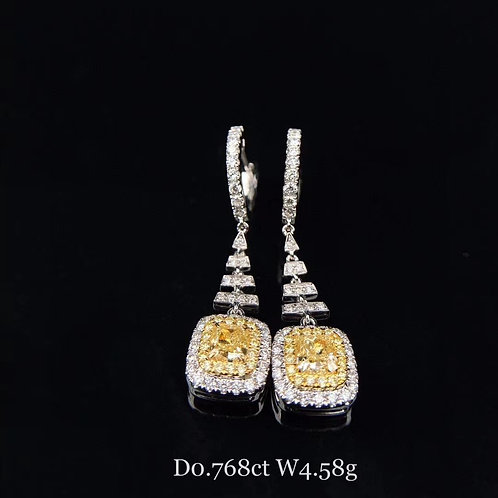 Cushion Cut Yellow Diamond Earrings 0.768ct