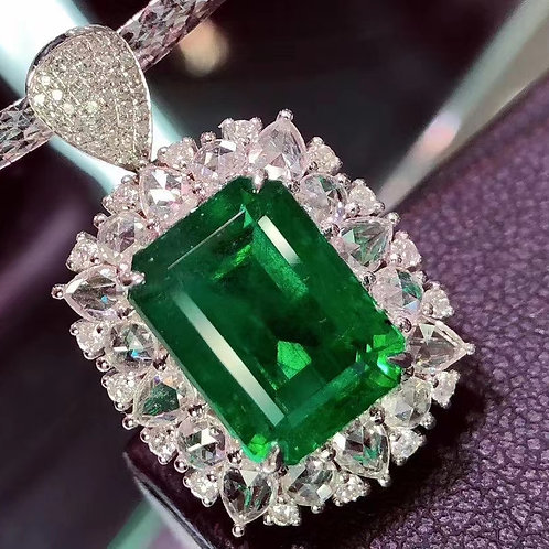 Vivid Green Emerald Pendant 6.21ct
