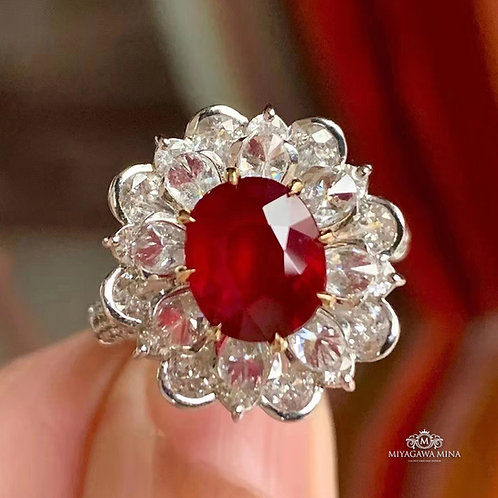 Unheated Pigeon Blood Ruby Ring 3.01ct