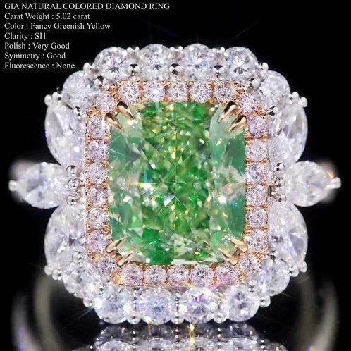 GIA Green Diamond Ring 5.02ct