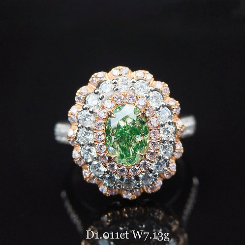 Oval-shaped Green Diamond Ring 1.011ct