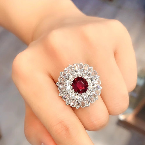 (Ask Price) Unheated Pigeon Blood Ruby Ring 3.16ct