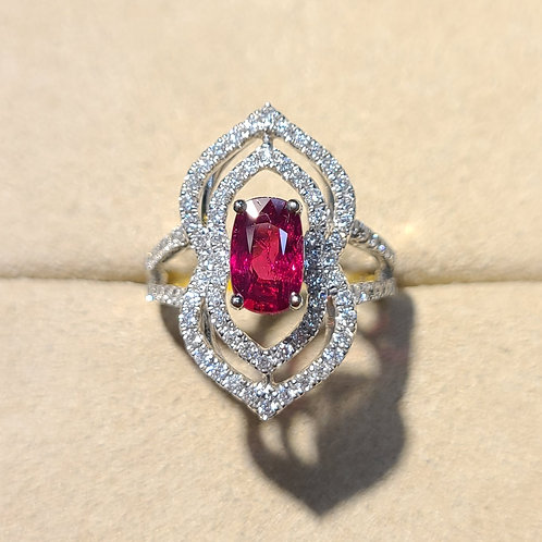 Unheated Ruby Ring 1.55ct