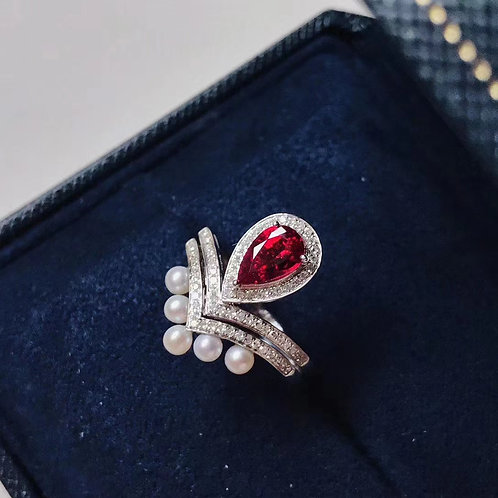 Unheated Pigeon Blood Ruby Ring 0.860ct