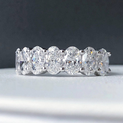 Oval Cut Half Circle Diamond Eternity Ring 2.1ct