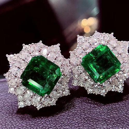 No Oil Vivid Green Emerald Earrings 4.35ct (Ask Price)