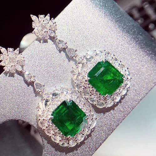 Vivid Green Emerald Earrings 8.5ct