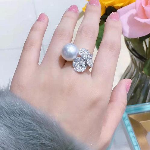 Australian Pearl & Diamond Ring 13-14mm