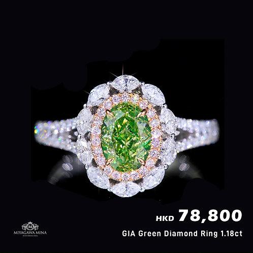 GIA Green Diamond Ring 1.18ct