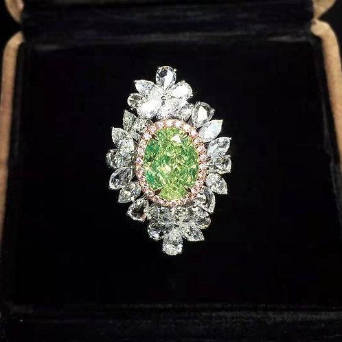 GIA Green Diamond Ring 3.03ct