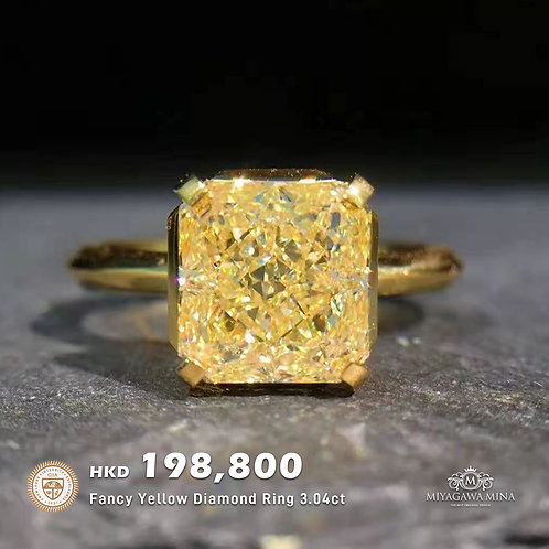 GIA Fancy Yellow Diamond Ring 3.04ct